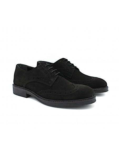 Scarpe da uomo in camoscio nero eleganti casual derby 18010