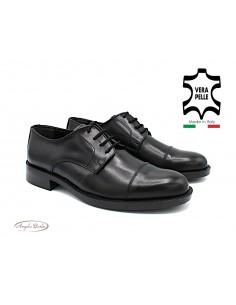 Scarpe da uomo con lacci in vera pelle nero eleganti Derby 7405
