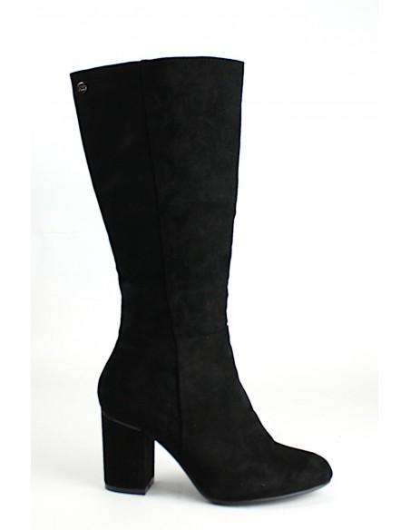 XTI Stivali da donna con tacco alto in camoscio color nero 35121