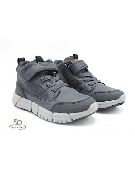 Geox scarpe da bambino sneakers alte con lacci elastici in pelle grigio J949BC