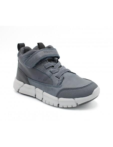 Geox scarpe da bambino sneakers alte con lacci elastici in pelle grigio J949BA