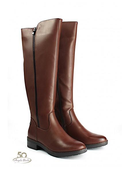 XTI stivali da donna alti al ginocchio con tacco basso Marrone 49376
